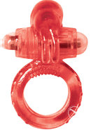 Clit Buddy 2 Rockin Rabbit Vibrating Cock Ring - Red